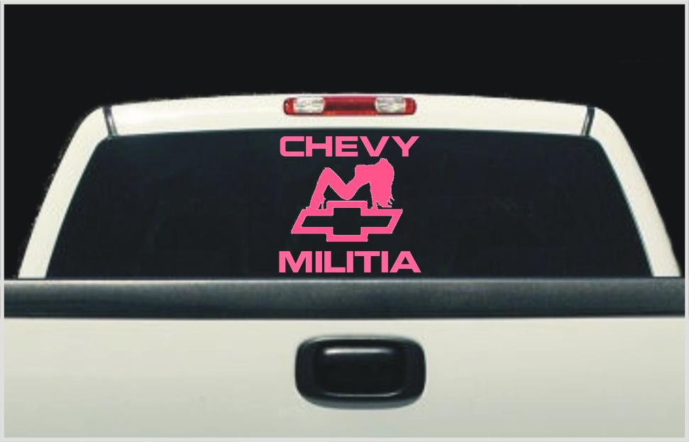 Trucker Girl Bowtie X Chevy Militia - Chevy bowtie rear window decal