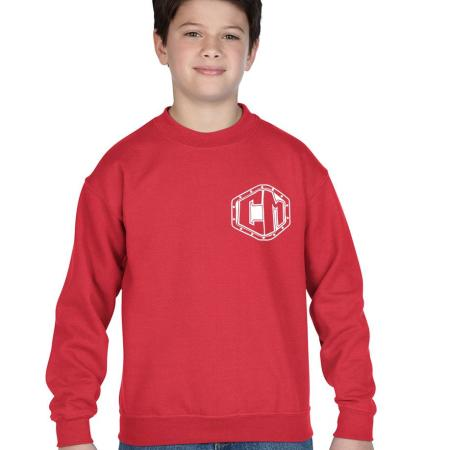 chevy militia 14 bolt red kids crew neck