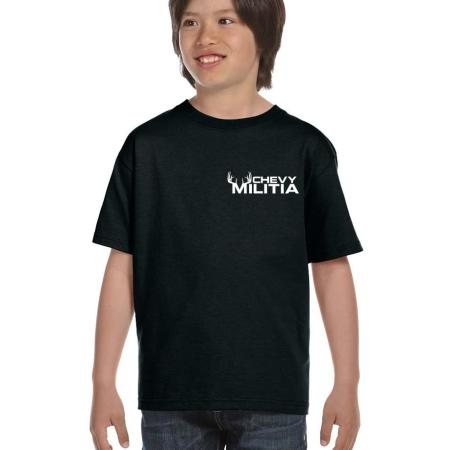 chevy militia kids black t-shirt